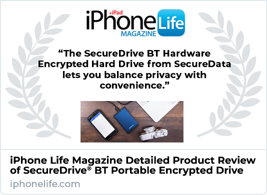 iPhone Life Magazine Reviews SecureDrive BT Encrypted Hard Drive