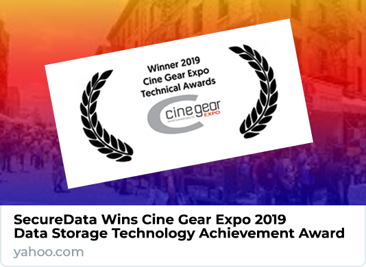 SecureData Wins Cine Gear Expo 2019 Data Storage Technology Achievement Award