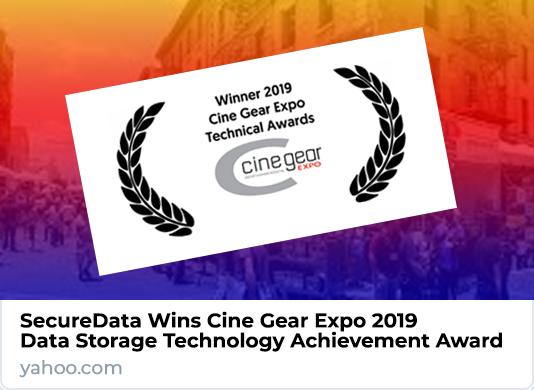 SecureData Wins Cine Gear Expo 2019 Data Storage Technology Achievement Award