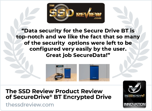The SSD Review Highlights SecureDrive BT Encrypted Hard Drive