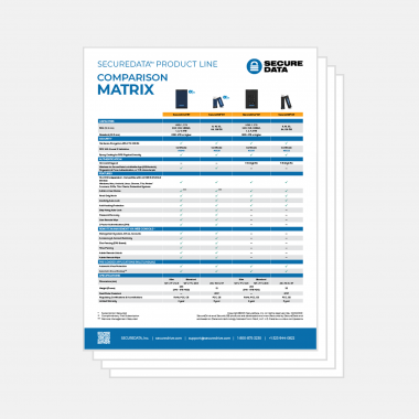 SecureData product line comparison matrix